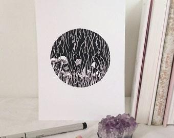 circle meadow art print - a5