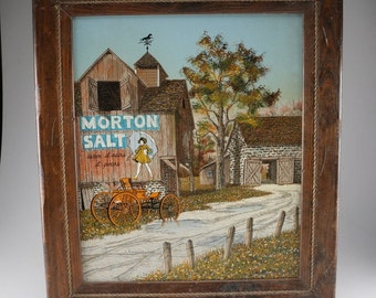 Hargrove Morton Salt Painting - Retro Oil Serigrapgh Painting of Rural Barn with Morton Salt Girl Advertising Logo on a Summer Day