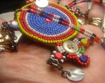 """Vint Native American Tribal Necklace -Artisan- 26 grms-18""""long, no clasp-on leather 492"""