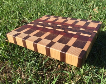 End Grain Maple, Walnut and Sapele Cutting Board 12x13