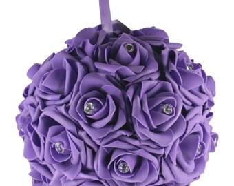 "8"" PURPLE Hanging Foam Pomander Kissing Rose Ball w/ Acrylic Diamond Bridal Wedding Decor"