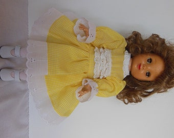 "Yellow Gingham Dress Set for Ideal 14"" P90 Betsy McCall Dolls"