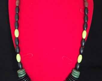 Olive, black, brown and green wood bead necklace and drop earring set