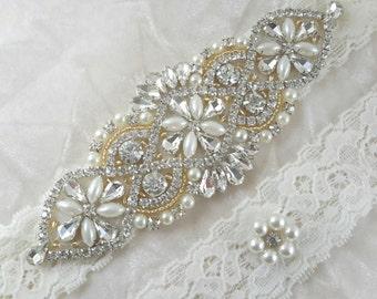 Bridal Garter, Wedding Garter Set, Gold Garter Set, Ivory Garter, Rhinestone Garter, Pearl Garter, Bridal Garter, Garter, Best Friend Bridal