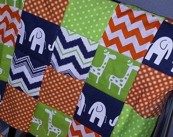 Patchwork Baby Blanket, navy, lime green, orange, Minky back, made to order, chevron & polka dot