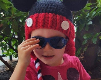 Mickey Mouse Crocheted Beanie with Earflaps, braids and two white buttons...custom made