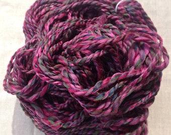 Handspun yarn - Hand spun purple yarn  - Mulberry - Chunky knitting yarn
