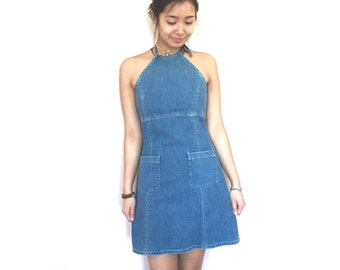 denim halter open back dress // jean dress // vintage 90s 80s size 4