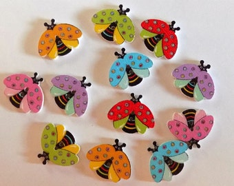 12 Flying  Ladybug Button - #SB-00179