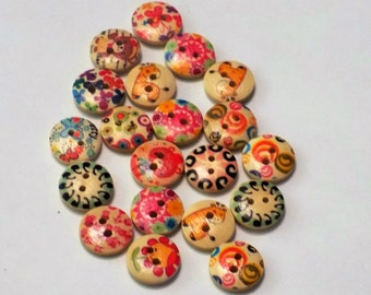 20 Mixed Wooden buttons - #WS-00063