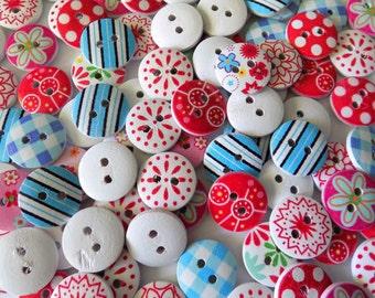 12 Wooden Flower Buttons - #WS-00090