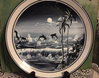 Oil Painting on Ceramic Plate done in Black and White of 2 dolphins Jumping in the Water; Old Ceramic durable Plate