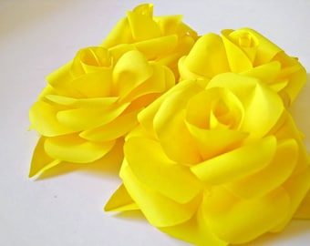 Set of 6 Yellow Paper Roses, Yellow Paper Flowers, Fall Table Decor, Yellow Paper Wedding, Yellow Wedding Decoration, Paper Wedding Decor