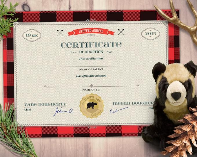 Lumberjack, woodland, party favor, stuffed animal adoption certificate, Buffalo Plaid, Woodland Invitation, Lumberjack Invite, Rustic,Bear ,