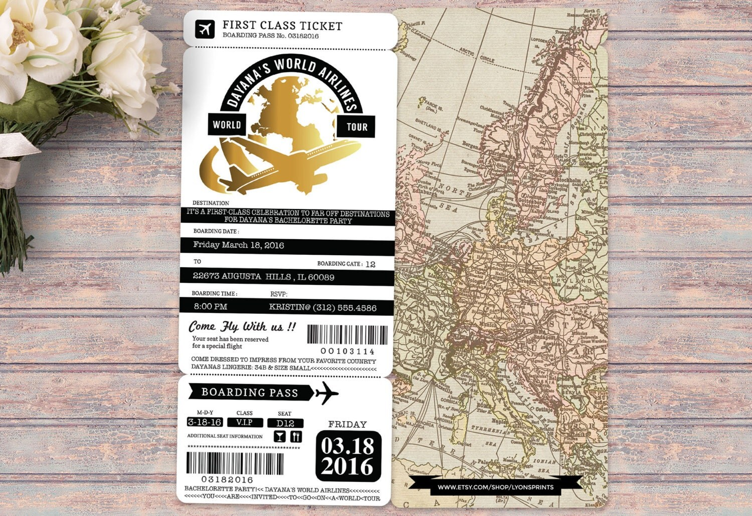 PASSPORT and TICKET bachelorette party, birthday invitation ...