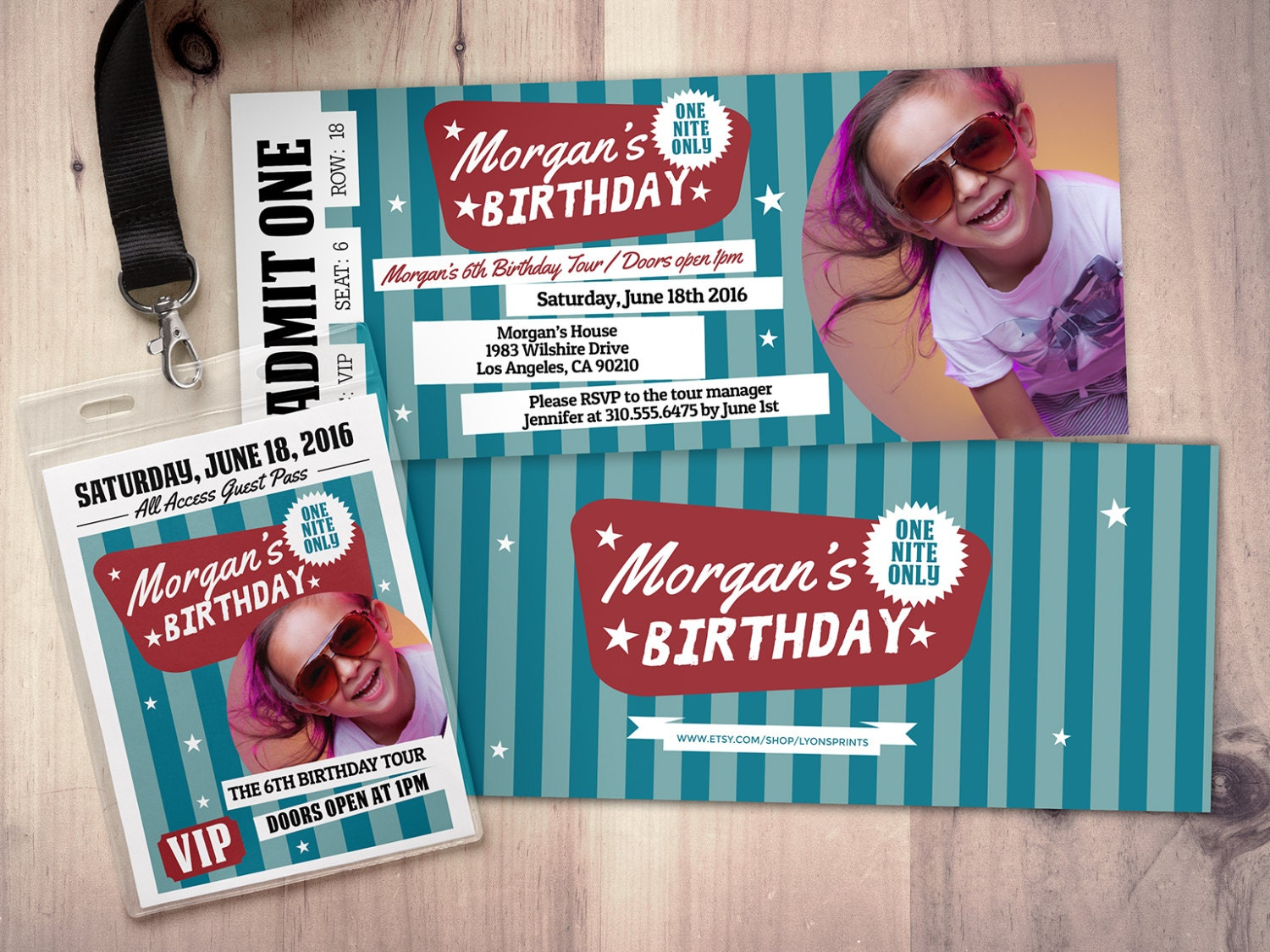 Pop star Rock Star concert ticket birthday party invitation – Concert Ticket Birthday Invitations