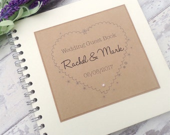 Rustic Kraft Country Heart Handmade & Personalised Wedding Guest Book, Scrapbook, Wedding Planner or Photo Guestbook with Cotton Bag
