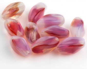 Vintage German opal & fuchsia twisted oval. 14x7mm. Pkg of 5. b11-pp-0878(e)