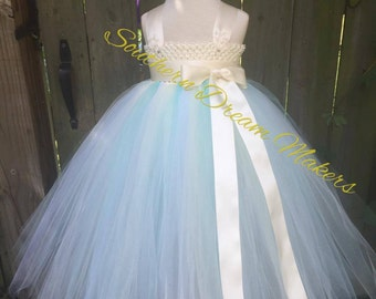 Flower Girl Dress, Blue Flower girl Dress, Blue/Ivory/White Flower girl dress tutu, Flower girl tutu dress, Beach Flower Girl Tutu