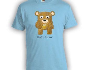 Papa Bear Fathers Day Gift - Distressed Dad Shirt Step-Dad Step-Father Mens Clothes Birthday Shirt TShirts Shirts New Dad CT-175