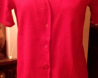 Red sleeves blouse short cotton