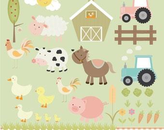 cute farm animals,tractors and crops , digital clip art set