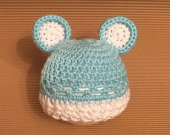 Littlebits Newborn Baby Crocheted Blue & White Teddy Beanie - Handcrafted in Australia RTS