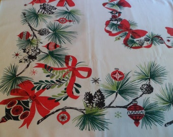 Vintage Mid Century Eames Era Christmas Tablecloth 42 x 54 Pine Boughs Shiny Brites Mistletoe