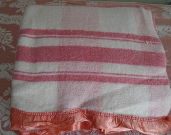 "Vintage 1930s/40s Camp Blanket~66 x 144"" Double/Reversible Pink/White Plaid"