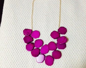 Hot Pink Turquoise Necklace Long Chain Statement Necklace