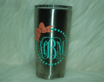 Yeti Decal-Monogrammed Yeti Decal-Monogram for Girls-Vinyl Sticker for Yeti-DECAL ONLY