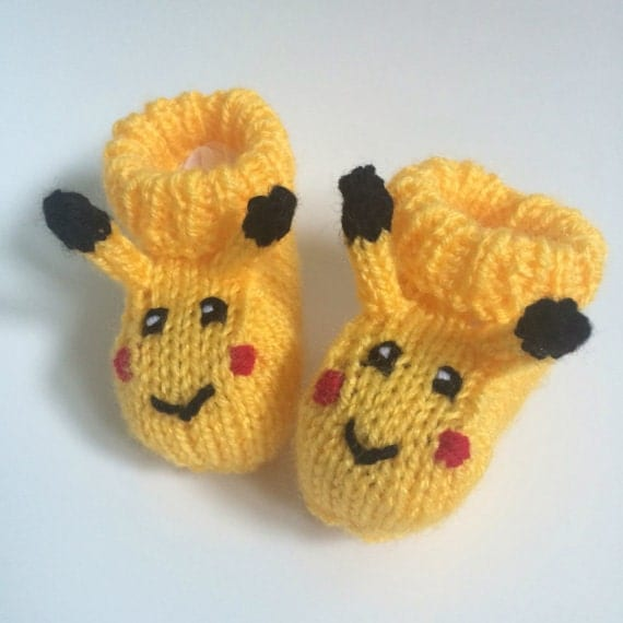 Pikachu baby booties knitting pattern animal baby boots pokemon shoes socks boy baby girl baby slippers winter gift