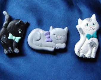 Set of 3 Ceramic Cat Magnets - Group 2 - Ceramic Magnets - Refrigerator Magnets - Kitchen Magnets