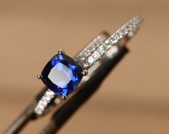 blue sapphire ring engagement sterling silver cushion sapphire ring