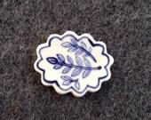 Plant cutting porcelain ceramic lapel pin brooch