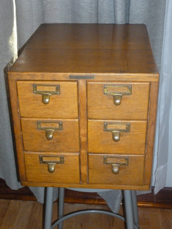 Antique Library Bureau Sole Makers 6 Drawer Oak File Cabinet