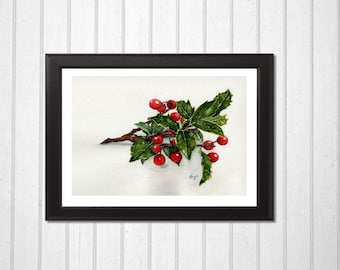Christmas Painting - Christmas Holly - Holiday Art - Christmas Picture - Holly Berries - Original Watercolor Painting