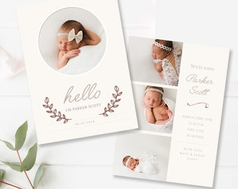 Baby Birth Announcement Template - 5x7 Card - Newborn Announcement - Photoshop Template - INSTANT DOWNLOAD
