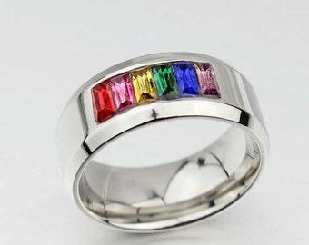 Titanium Steel Rainbow Ring