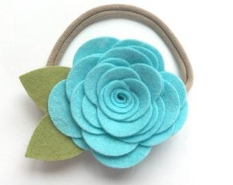 Felt Flower Headband In Copper - Newborn/Baby/Toddler Headband - Photo Prop - Felt Headband - Girls Headband