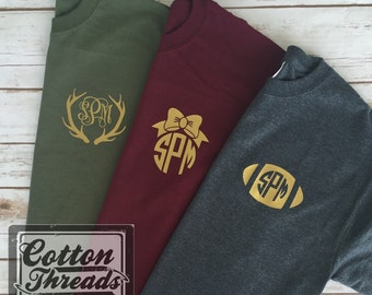 3 Monogrammed Short Sleeve or Long Sleeve T-Shirt Bundle