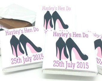 Personalised Chocolate Hen Party Favor, Stilletoe, Personalized Chocolate, Wedding Favor, Bachelorette favors, Hen Do favours, Hen Night