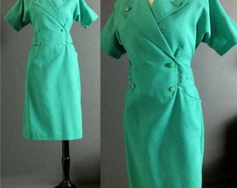 Vintage 80's Kelly Green Double Breasted Buttons Secretary Office Dress Shift Dress Side pleated Size S Stewardess Dress