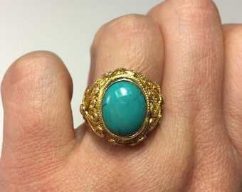 Turquoise Ring, Chinese Ring, Chinese Filigree Ring, Vintage Turquoise Chinese Gilt Silver Filigree Adjustable Ring from the 60s