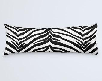 Animal Print Body Pillow, White Black Long Pillow, Long Pillow Cover, Zebra Print Large Cushion, Tiger Print Bed Pillow, 20x54 Pillow