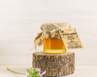 Honey Jar with Fabric Topper Wedding Favour/Bombonniere. Completely Custom Favor. Rustic, all hand made.
