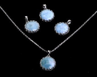 Larimar. Four (4) Crown Pendants (Wholesale) .925 Sterling Silver.