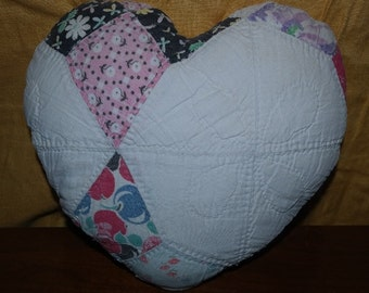 Vintage Cutter Quilt Pillow Heart Shaped  Pillow Made with Love and Memories