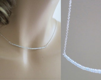 Beaded Bar Necklace, Sterling Silver Gold Filled Chain, Bridesmaids Jewelry, Delicate Necklace, Simple, Weddings Jewelry, Bar Choker