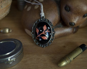 hand painted pendant, floral necklace